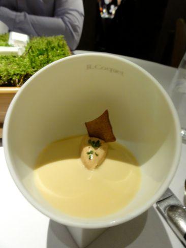 Homage to Alain chapel: Crayfish cream, Chicken liver parfait, Crab biscuit