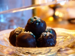 Ten Lords-a-Leaping (10 Commandments)-Luscious dark chocolate truffles topped with popping candy leap into the mouth.